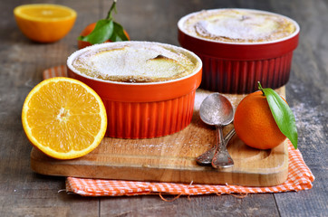Curd souffle with orange and vanilla.