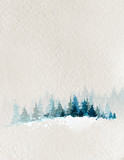 Fototapety winter landscape with fir forest and deer