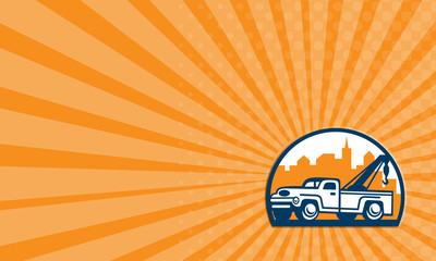 Business card Vintage Tow Truck Wrecker Retro