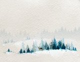 winter landscape with fir forests and deer