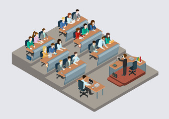 Business training education concept flat 3d web isometric
