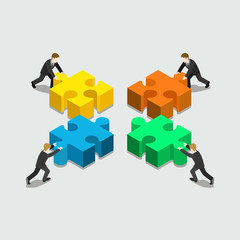 Business solution in partnership concept flat 3d web isometric