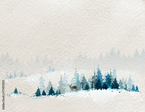 winter landscape with fir forests and deer - 77407830