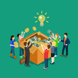 Business idea crowdfunding volunteer concept flat 3d isometric - 77408032