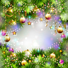 Christmas backgrounds with evening balls, garlands