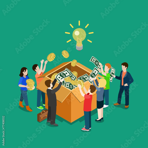 Business idea crowdfunding volunteer concept flat 3d isometric