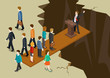 Democracy politics system imbalance concept flat 3d isometric - 77408244