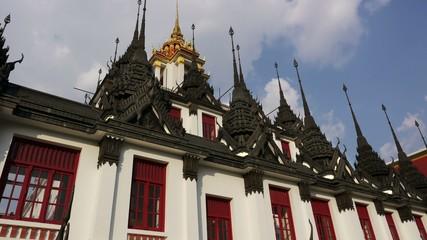 Stock Video Footage Wat Ratchanatdaram HDV Bangkok Buddhist