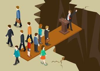 Democracy politics system imbalance concept flat 3d isometric