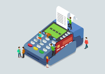 Credit card pin payment terminal concept flat 3d web isometric