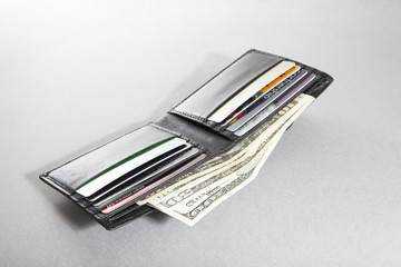 Open wallet with US banknotes