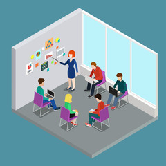 Business training education trainer class flat 3d web isometric