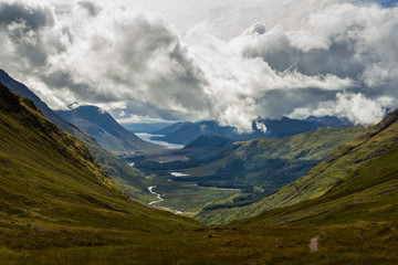 Scotland, Highlands, Glen Etive, View of cloudy sky above valley