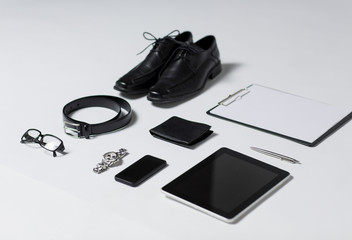 close up of formal clothes and personal stuff
