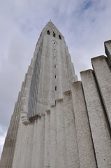 Iceland, Reykjavik, Low angle view of church
