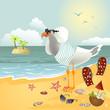 Seagull on the beach looking through binoculars - 77409844