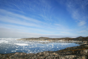 Greenland, Ilulissat, Ice flowing on water