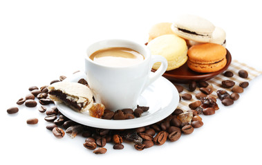 Gentle colorful macaroons and black coffee in mug isolated