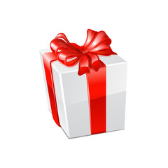 Gift box over white background. Vector