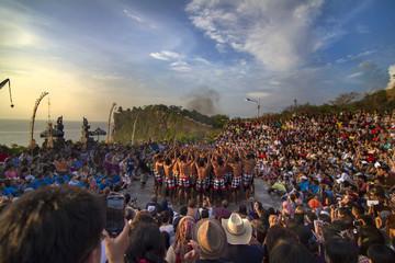 Indonesia, Bali, Uluwatu, Kecak dance crowd