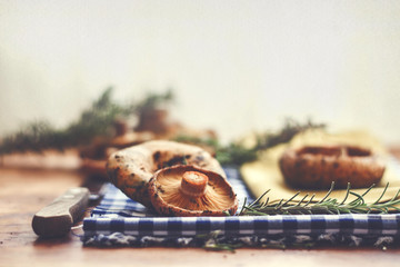 Mushrooms and rosemary