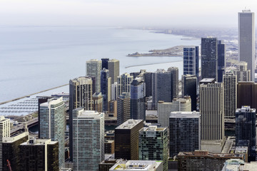 Chicago, Illinois, United States of America, Chicago Skyline Southward Along Lake Michigan