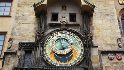 Old astronomical clock in center square of Prague