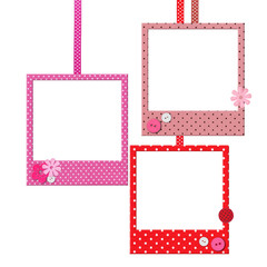 Photo frames with polka dot patterns