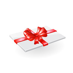 Envelope with red ribbon and bow.