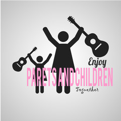 mother  and daugther with guitar over gray color background