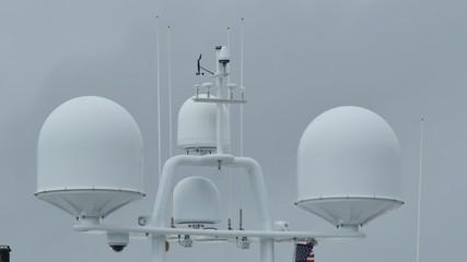 Satcom communication domes on a yacht