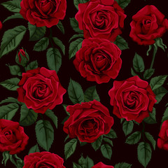 Seamless pattern with  red roses , vector illustration.