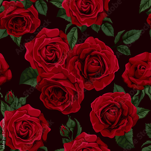 Seamless Wallpaper Pattern With Of Collection Red Roses