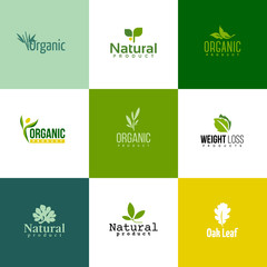 Set of modern natural and organic products logo templates icons