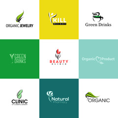 Set of modern natural and organic products logo templates and ic