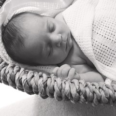 Baby (0-1months) sleeping in basket
