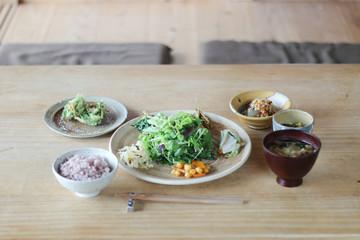 Japan, Dinner on wooden table