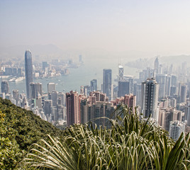 China, Hong Kong, View of city skyline and Victoria Harbor