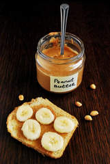 Homemade peanut butter and toast with banana