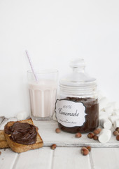 Studio shot of chocolate hazelnut butter