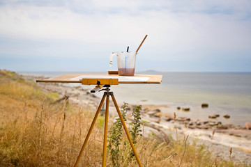 Art easel at beach