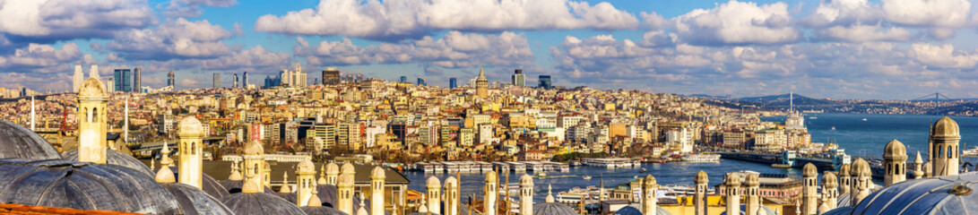 Panorama of Istanbul from the Sueymaniye Mosque - Turkey