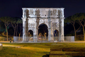 Arch of Constantine in Rome by Night