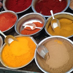 Israel, Tel Aviv, Assorted spices at market
