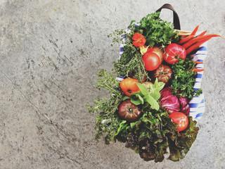 Basket full of healthy fruit and vegetables