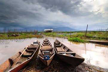 Indonesia, Central Java, Semarang, Wooden kayaks