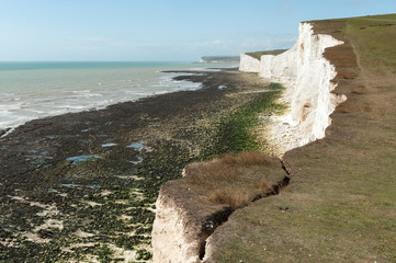 UK, England, East Sussex, Chalk cliff erosion on South Downs Way