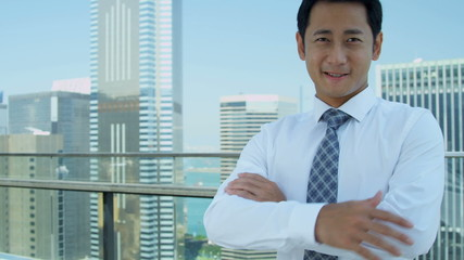 Young Asian Chinese Businessman City Rooftop Portrait