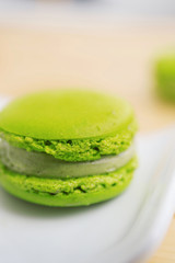 Close-up of green French macaroon