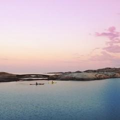Norway, Kayaking during sunset